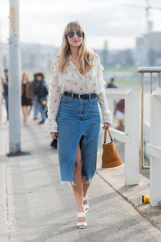 С чем носить джинсовую юбку в 2020