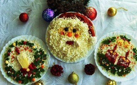 Как украсить салаты на Новый год